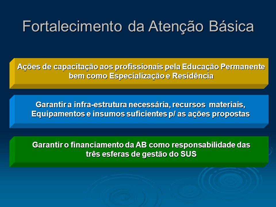 Fortalecimento da Atenção Básica Garantir a infra-estrutura necessária, recursos materiais, Equipamentos e insumos suficientes p/ as ações propostas G