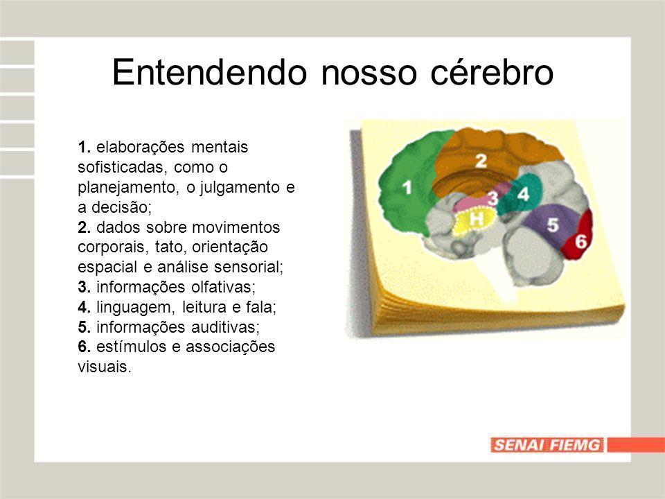 Entendendo nosso cérebro 1. elaborações mentais sofisticadas, como o planejamento, o julgamento e a decisão; 2. dados sobre movimentos corporais, tato