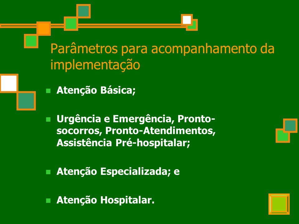 Parâmetros para acompanhamento da implementação Atenção Básica; Urgência e Emergência, Pronto- socorros, Pronto-Atendimentos, Assistência Pré-hospitalar; Atenção Especializada; e Atenção Hospitalar.