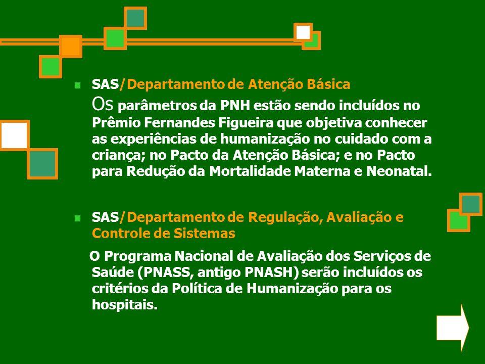 SAS/Departamento de Atenção Básica Os parâmetros da PNH estão sendo incluídos no Prêmio Fernandes Figueira que objetiva conhecer as experiências de humanização no cuidado com a criança; no Pacto da Atenção Básica; e no Pacto para Redução da Mortalidade Materna e Neonatal.