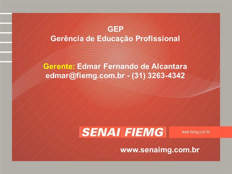 GEP Gerência de Educação Profissional Gerente: Edmar Fernando de Alcantara edmar@fiemg.com.br - (31) 3263-4342 www.senaimg.com.br