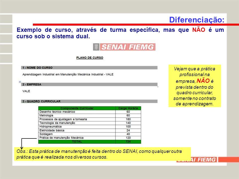 Diferenciação: Exemplo de curso, através de turma específica, sob o sistema dual.