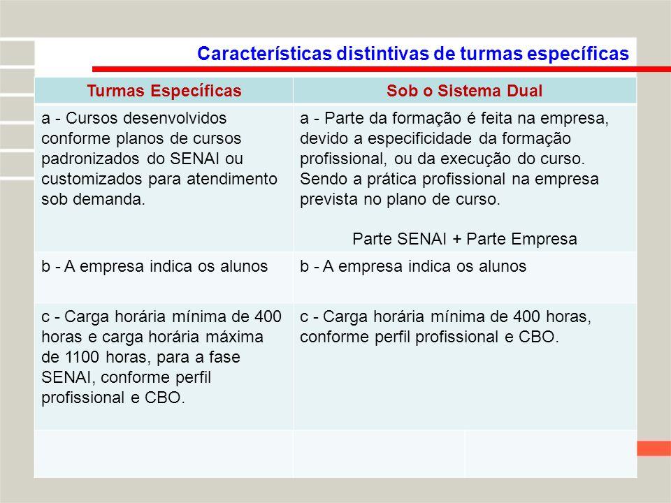 Características distintivas de turmas específicas Turmas EspecíficasSob o Sistema Dual a - Cursos desenvolvidos conforme planos de cursos padronizados do SENAI ou customizados para atendimento sob demanda.