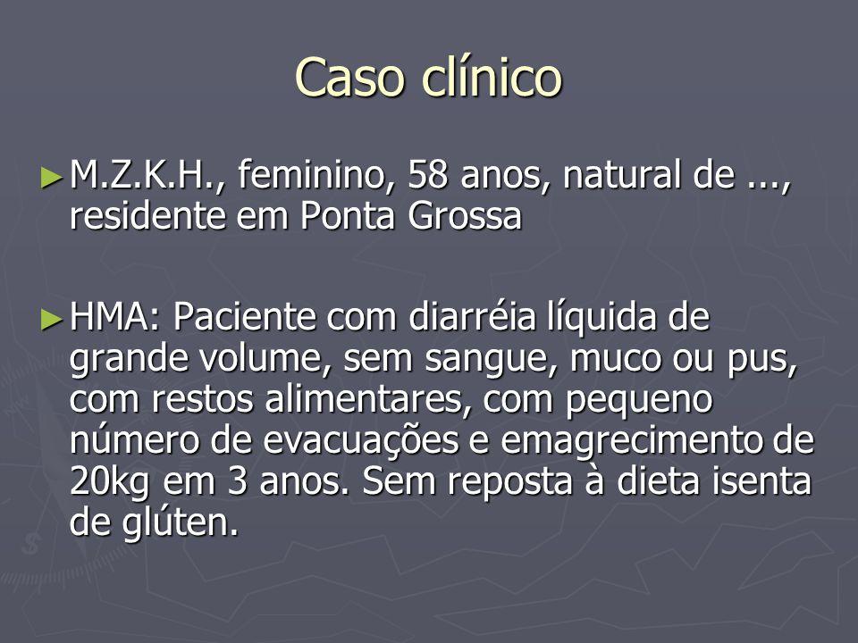 Exames complementares Parcial de urina: normal Parcial de urina: normal Parasitológico de fezes: negativo Parasitológico de fezes: negativo Coprocultura: negativa Coprocultura: negativa Pesquisa de leucócitos: negativa Pesquisa de leucócitos: negativa Ig G: 1023 (N:952- 1538) Ig A: 327 (N:70-400) Ig E: 38 (N<160)