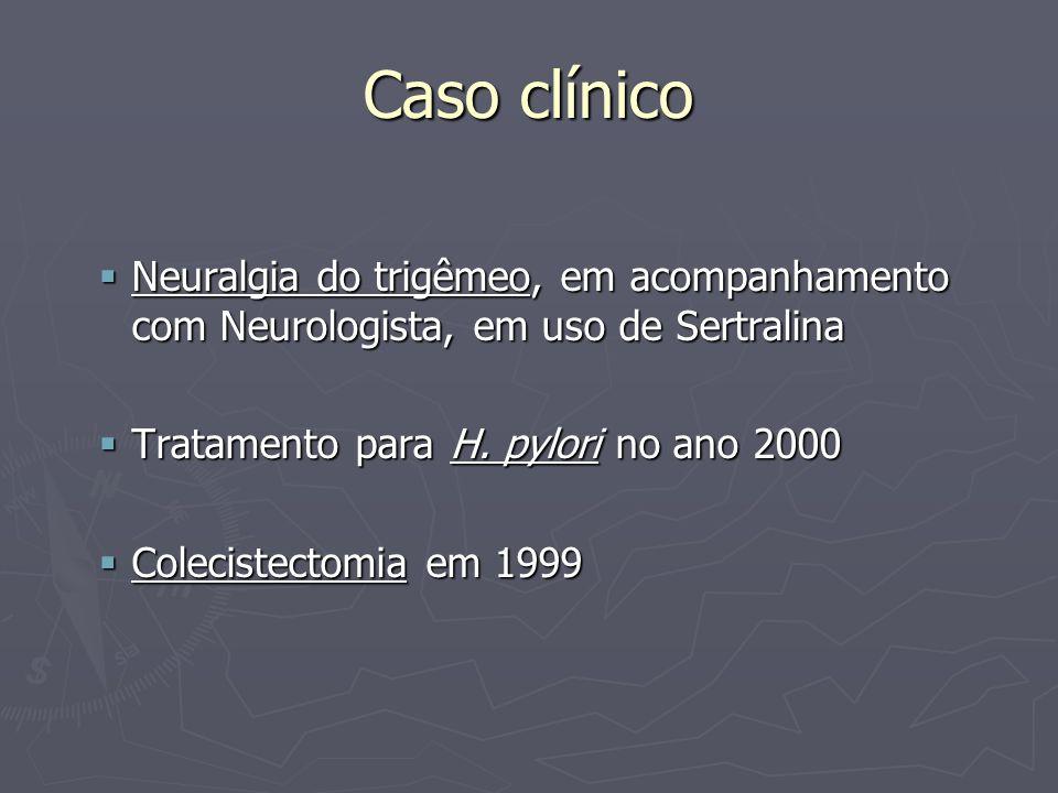 Caso clínico AGO: Menopausa aos 54 anos AGO: Menopausa aos 54 anos HMF: Tia com colelitíase HMF: Tia com colelitíase Nega hx familiar de câncer de intestino Nega hx familiar de câncer de intestino CHV: Sedentária CHV: Sedentária
