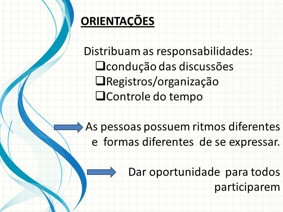 ORIENTAÇÕES Distribuam as responsabilidades: condução das discussões Registros/organização Controle do tempo As pessoas possuem ritmos diferentes e fo