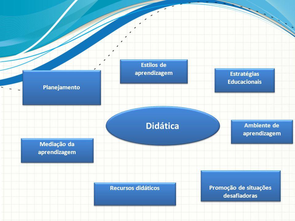 Didática Planejamento Ambiente de aprendizagem Mediação da aprendizagem Promoção de situações desafiadoras Estilos de aprendizagem Estratégias Educaci