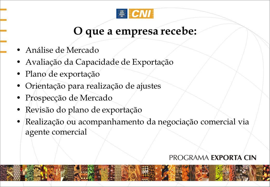 O que a empresa recebe: Análise de Mercado Avaliação da Capacidade de Exportação Plano de exportação Orientação para realização de ajustes Prospecção