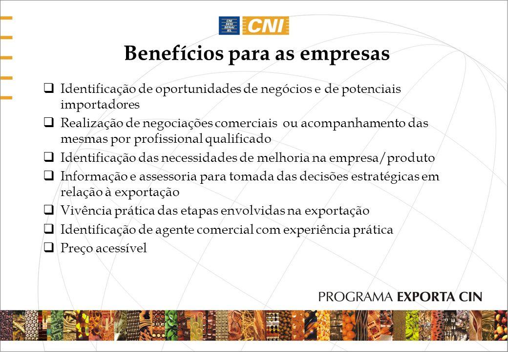 Benefícios para as empresas Identificação de oportunidades de negócios e de potenciais importadores Realização de negociações comerciais ou acompanham