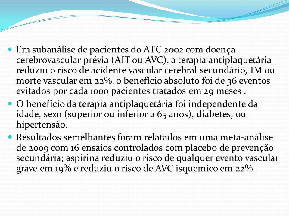 Em subanálise de pacientes do ATC 2002 com doença cerebrovascular prévia (AIT ou AVC), a terapia antiplaquetária reduziu o risco de acidente vascular