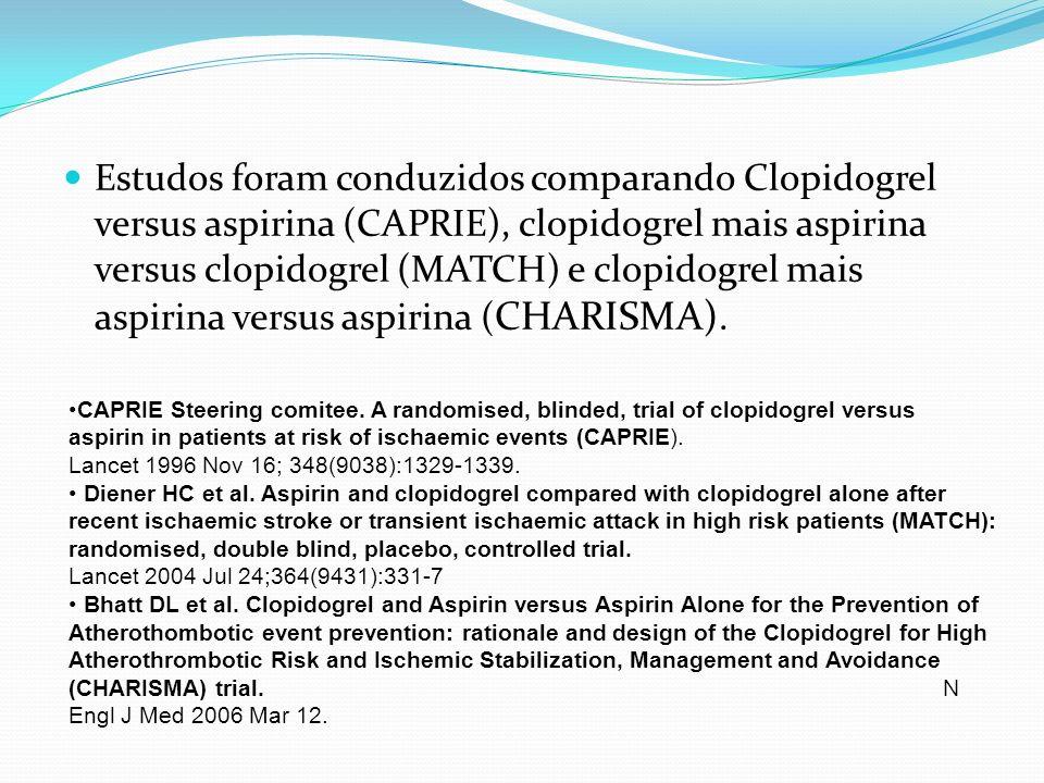 Estudos foram conduzidos comparando Clopidogrel versus aspirina (CAPRIE), clopidogrel mais aspirina versus clopidogrel (MATCH) e clopidogrel mais aspi