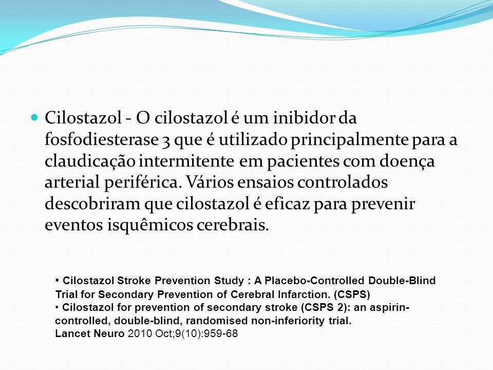 Cilostazol - O cilostazol é um inibidor da fosfodiesterase 3 que é utilizado principalmente para a claudicação intermitente em pacientes com doença ar