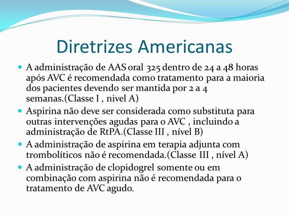 Diretrizes Americanas A administração de AAS oral 325 dentro de 24 a 48 horas após AVC é recomendada como tratamento para a maioria dos pacientes deve