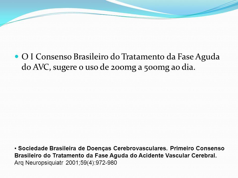 O I Consenso Brasileiro do Tratamento da Fase Aguda do AVC, sugere o uso de 200mg a 500mg ao dia. Sociedade Brasileira de Doenças Cerebrovasculares. P