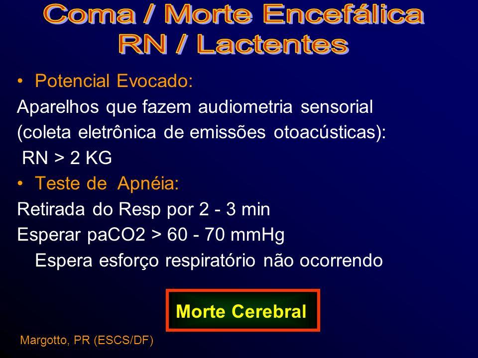 Potencial Evocado: Aparelhos que fazem audiometria sensorial (coleta eletrônica de emissões otoacústicas): RN > 2 KG Teste de Apnéia: Retirada do Resp