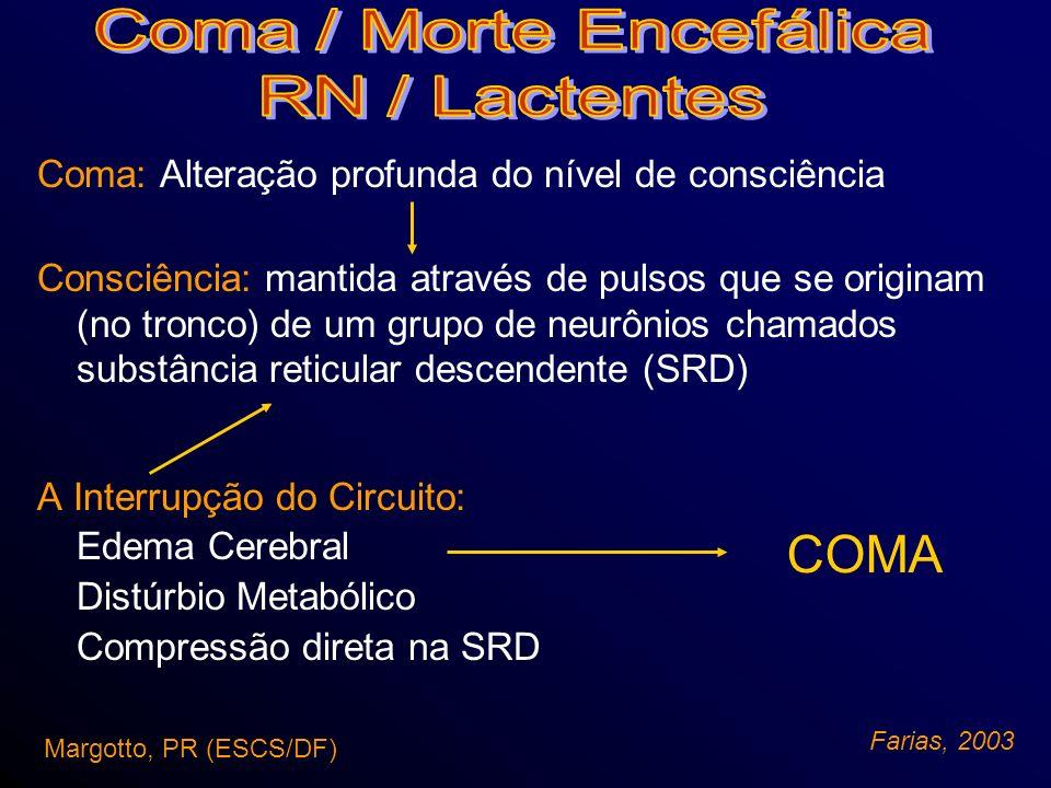 Causas: – Tocotraumatismos –Hemorragias parenquimatosas –Hemorragias infratentoriais –Encefalopatia hipóxico - isquêmica (EHI) –Herpes Tipo II Sistêmica: 2º - 3º sem - quadro catastrófico (evolução: 6h) Margotto, PR (ESCS/DF) Farias, 2003