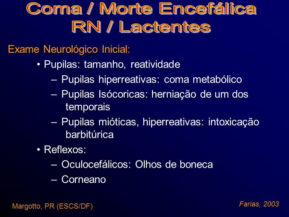 Exame Neurológico Inicial: Herniação –Deterioração crânio-caudal (exame neurológico evolutivo) – Hérnia cingular - postura de decorticação –Hérnia transtentorial e central - pupilas isocóricas –Herniação amigdalar - hipertensão intracraniana, apnéia Margotto, PR (ESCS/DF) Farias, 2003