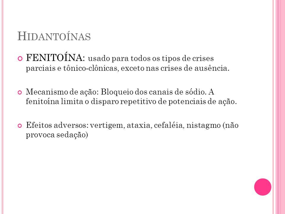 H IDANTOÍNAS FENITOÍNA: usado para todos os tipos de crises parciais e tônico-clônicas, exceto nas crises de ausência. Mecanismo de ação: Bloqueio dos