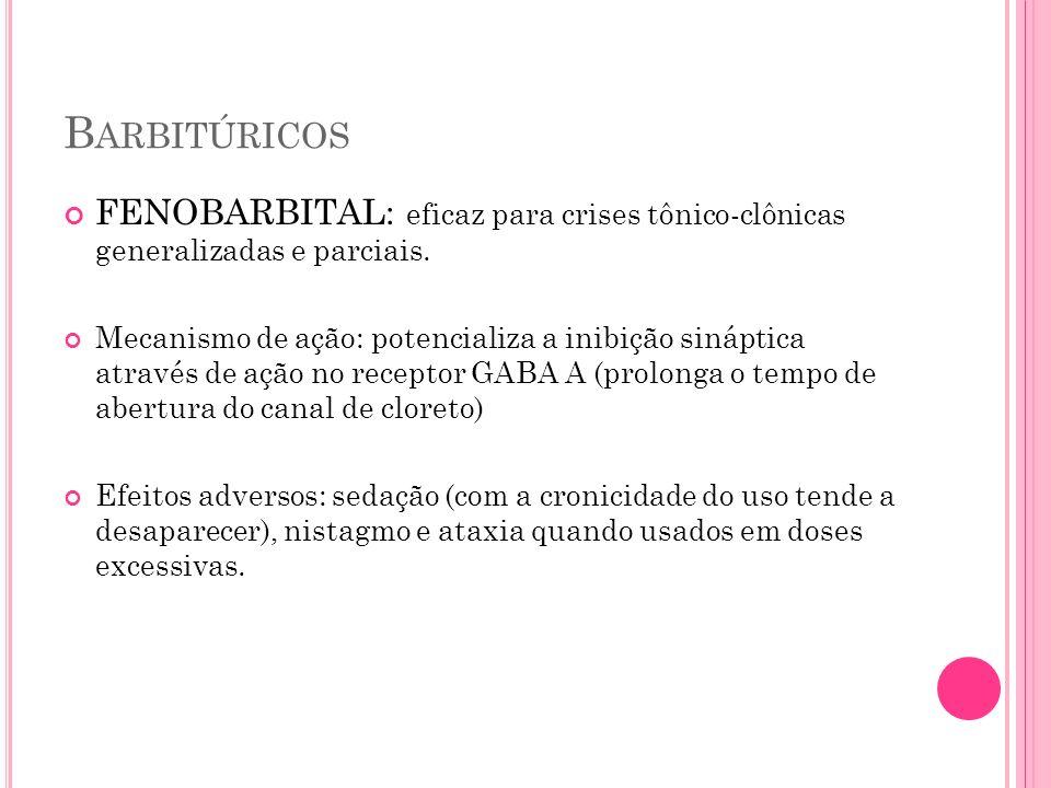 B ARBITÚRICOS FENOBARBITAL: eficaz para crises tônico-clônicas generalizadas e parciais. Mecanismo de ação: potencializa a inibição sináptica através