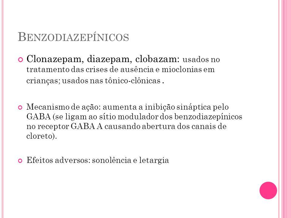 B ENZODIAZEPÍNICOS Clonazepam, diazepam, clobazam: usados no tratamento das crises de ausência e mioclonias em crianças; usados nas tônico-clônicas. M