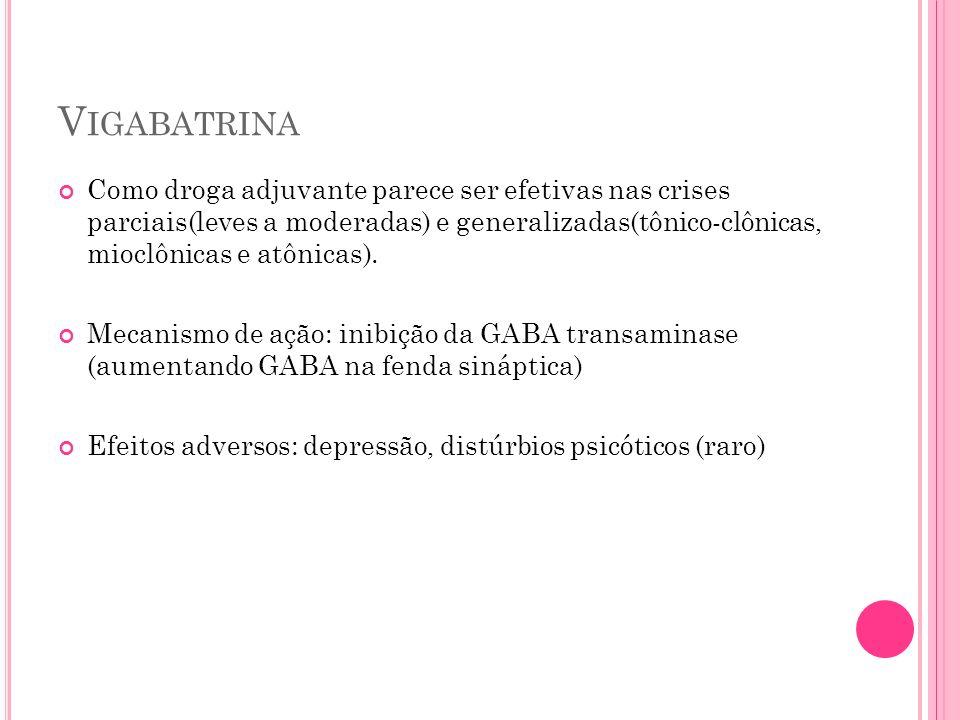 V IGABATRINA Como droga adjuvante parece ser efetivas nas crises parciais(leves a moderadas) e generalizadas(tônico-clônicas, mioclônicas e atônicas).