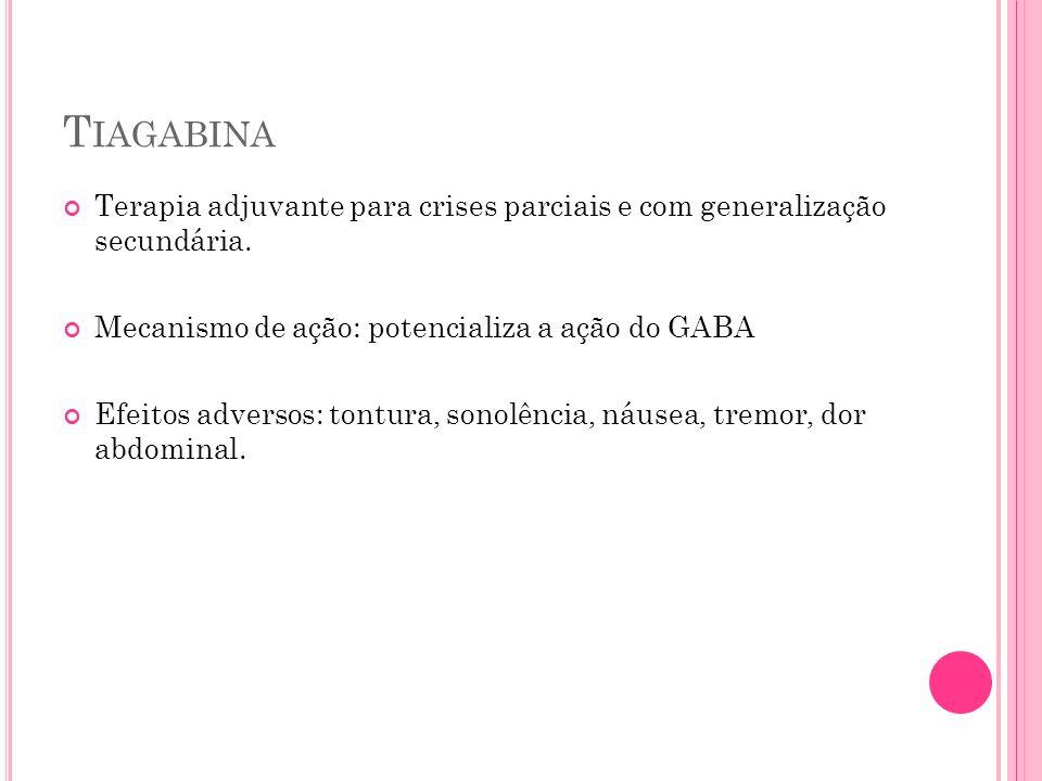 T IAGABINA Terapia adjuvante para crises parciais e com generalização secundária. Mecanismo de ação: potencializa a ação do GABA Efeitos adversos: ton