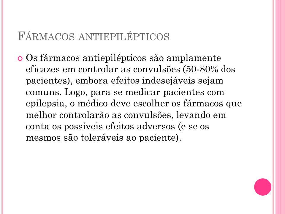 F ÁRMACOS ANTIEPILÉPTICOS Os fármacos antiepilépticos são amplamente eficazes em controlar as convulsões (50-80% dos pacientes), embora efeitos indese