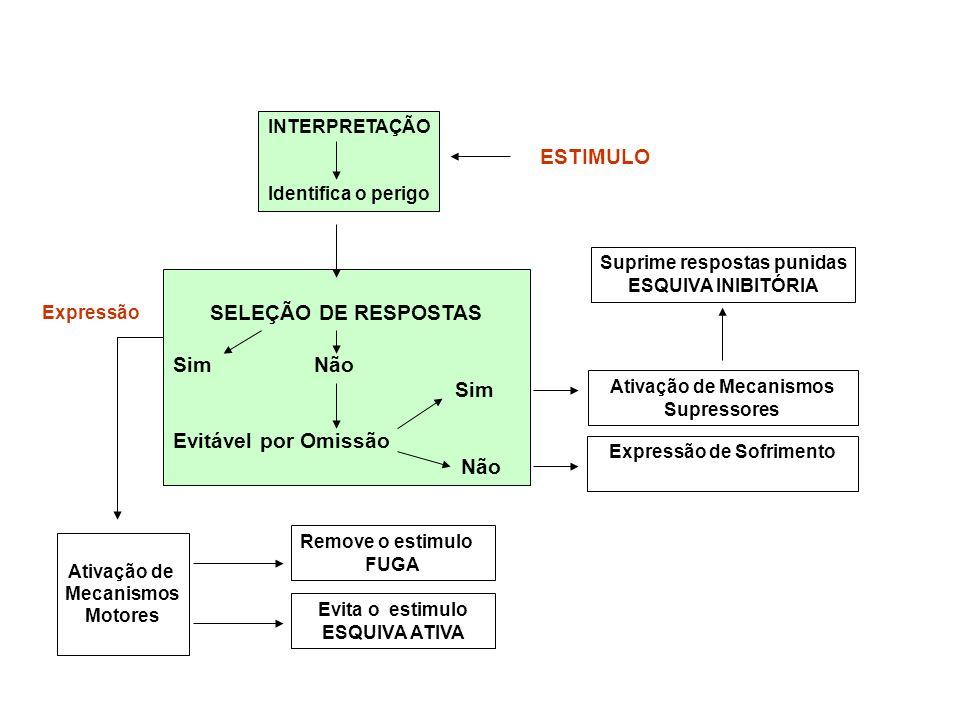 INTERPRETAÇÃO Identifica o perigo ESTIMULO SELEÇÃO DE RESPOSTAS Sim Não Sim Evitável por Omissão Não Ativação de Mecanismos Supressores Expressão de S