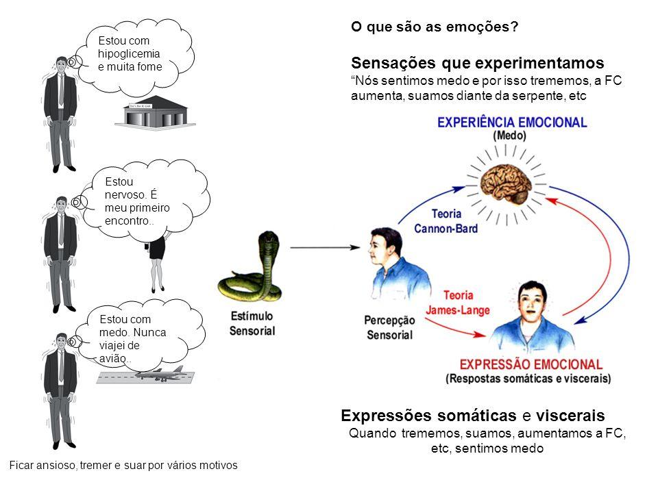 Órgãos efetuadores das expressões emocionais Órgãos viscerais Musculatura esquelética Núcleos motores viscerais - lacrimejamento - vocalização - sudorese - mudanças hemodinâmicas - mudanças no ritmo respiratório - salivação, deglutição, vômito, mastigação - etc.