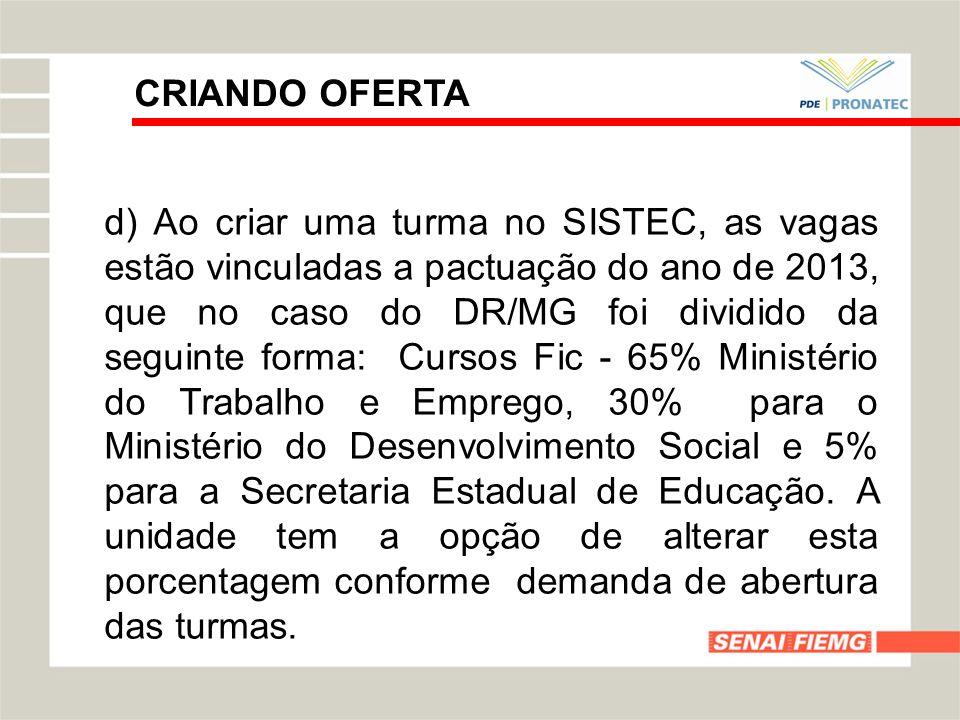 CRIANDO OFERTA d) Ao criar uma turma no SISTEC, as vagas estão vinculadas a pactuação do ano de 2013, que no caso do DR/MG foi dividido da seguinte fo