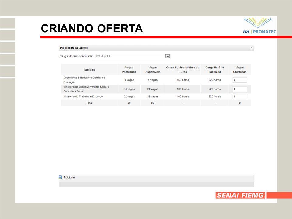 CRIANDO OFERTA