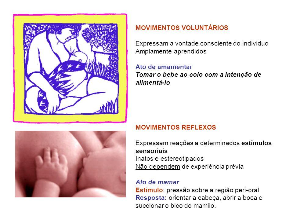 MOVIMENTOS VOLUNTÁRIOS Expressam a vontade consciente do individuo Amplamente aprendidos Ato de amamentar Tomar o bebe ao colo com a intenção de alime