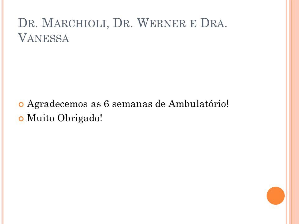 D R. M ARCHIOLI, D R. W ERNER E D RA. V ANESSA Agradecemos as 6 semanas de Ambulatório! Muito Obrigado!