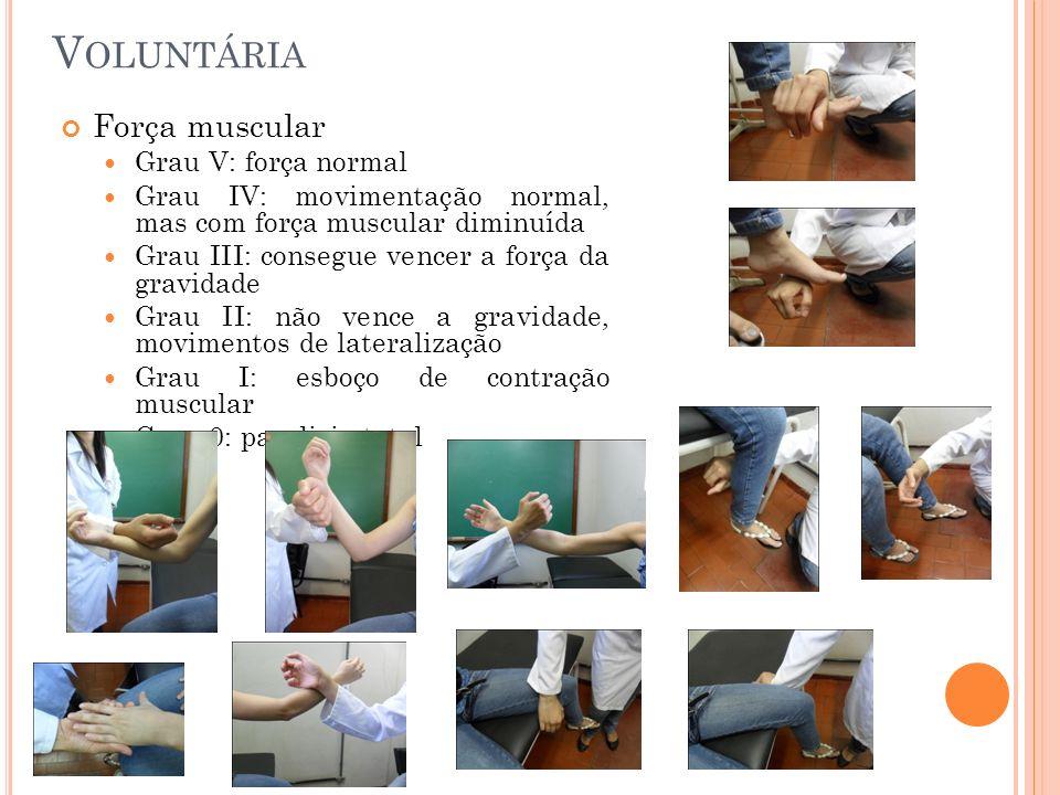 V OLUNTÁRIA Força muscular Grau V: força normal Grau IV: movimentação normal, mas com força muscular diminuída Grau III: consegue vencer a força da gr