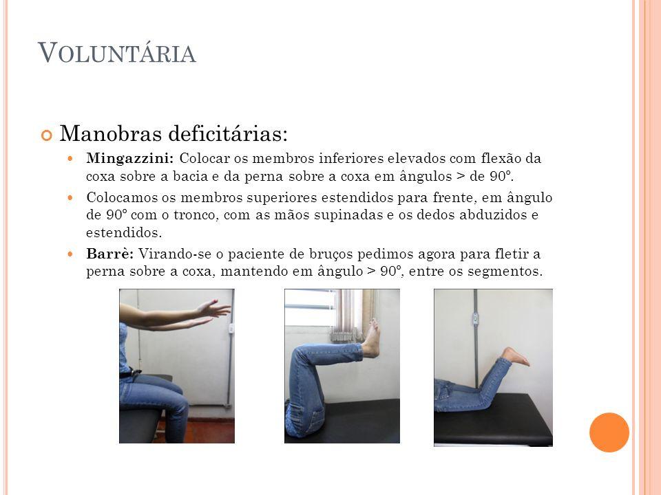 V OLUNTÁRIA Manobras deficitárias: Mingazzini: Colocar os membros inferiores elevados com flexão da coxa sobre a bacia e da perna sobre a coxa em ângu