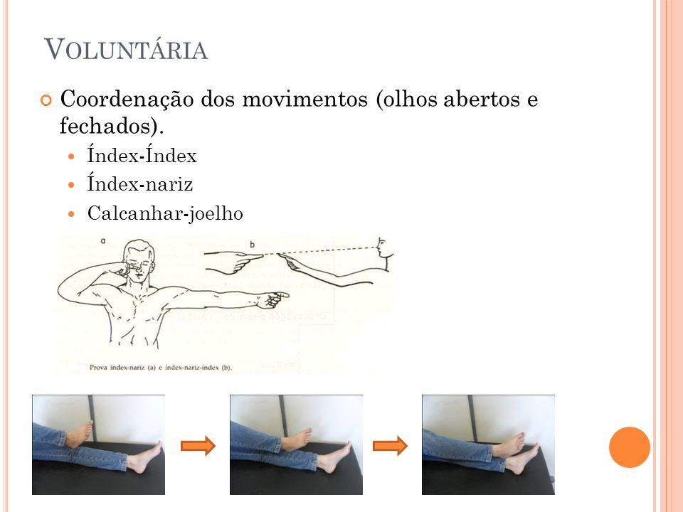 V OLUNTÁRIA Coordenação dos movimentos (olhos abertos e fechados). Índex-Índex Índex-nariz Calcanhar-joelho
