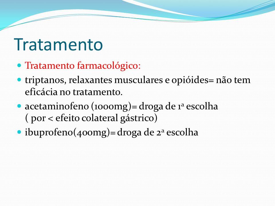 Tratamento Tratamento farmacológico: triptanos, relaxantes musculares e opióides= não tem eficácia no tratamento. acetaminofeno (1000mg)= droga de 1 a