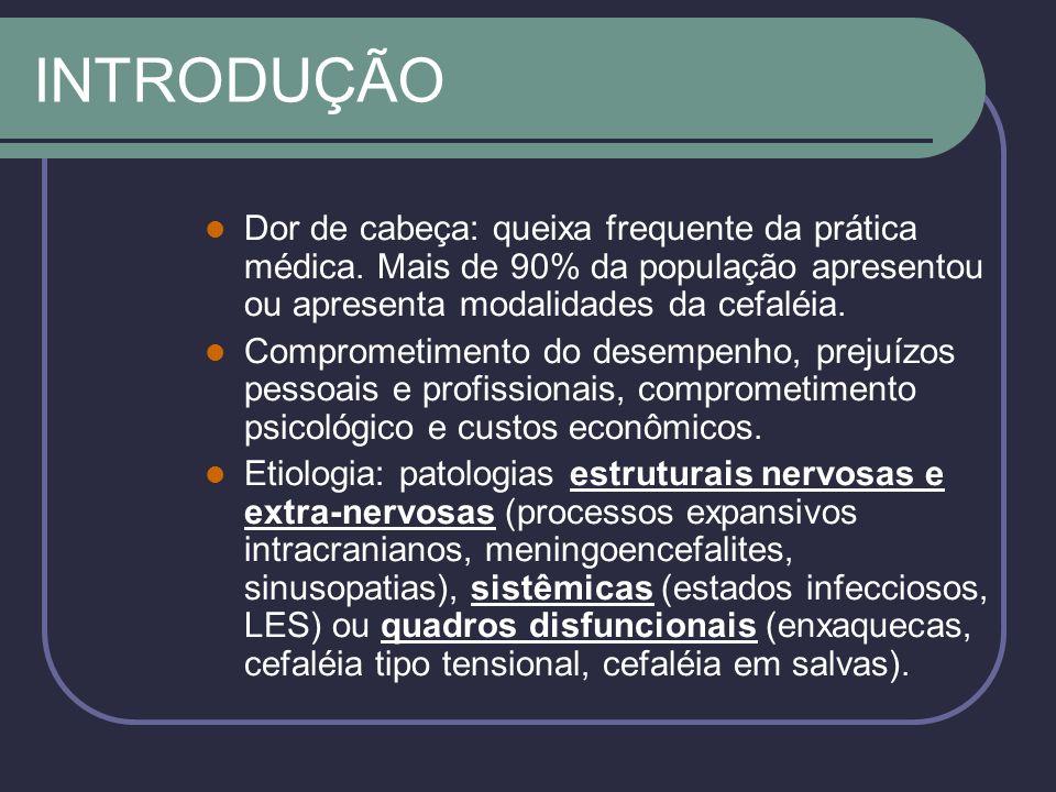 ENXAQUECA Critérios: Crises repetidas* de cefaléia que duram de 4-72h em pacientes com exame físico normal.
