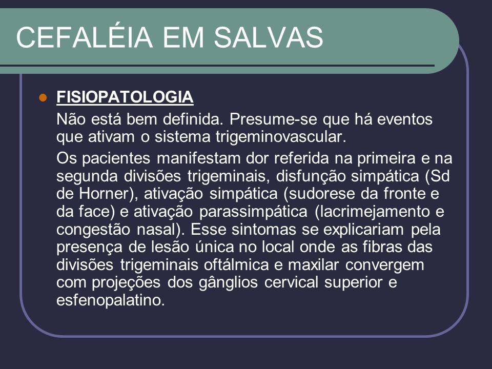 CEFALÉIA EM SALVAS FISIOPATOLOGIA Não está bem definida.
