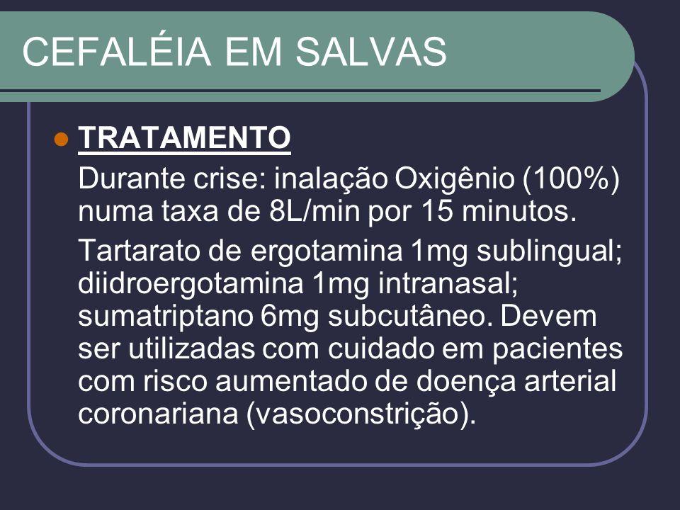 CEFALÉIA EM SALVAS TRATAMENTO Durante crise: inalação Oxigênio (100%) numa taxa de 8L/min por 15 minutos.