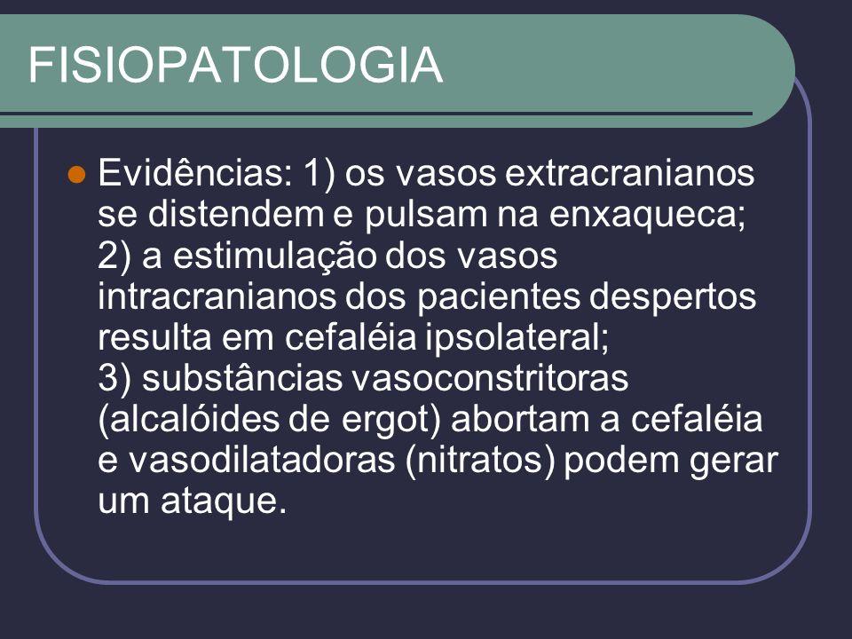 FISIOPATOLOGIA TEORIA NEUROGÊNICA Cérebro como gerador da enxaqueca Suscetibilidade é dependente de limiares intrínsecos ao cérebro As alterações vasculares durante a crise seriam o resultado e não a causa do ataque.
