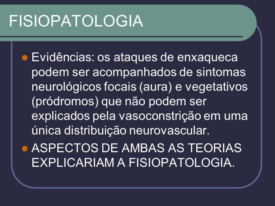FISIOPATOLOGIA Evidências: os ataques de enxaqueca podem ser acompanhados de sintomas neurológicos focais (aura) e vegetativos (pródromos) que não podem ser explicados pela vasoconstrição em uma única distribuição neurovascular.