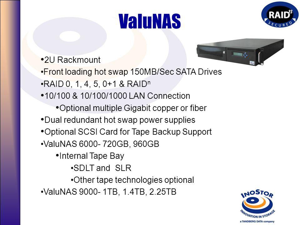 InteliNAS 2U Rackmount Front loading hot swap 10,000 RPM SCSI RAID 0, 1, 4, 5, 0+1, & RAID n 10/100 & 10/100/1000 LAN Connection Optional multiple Gig