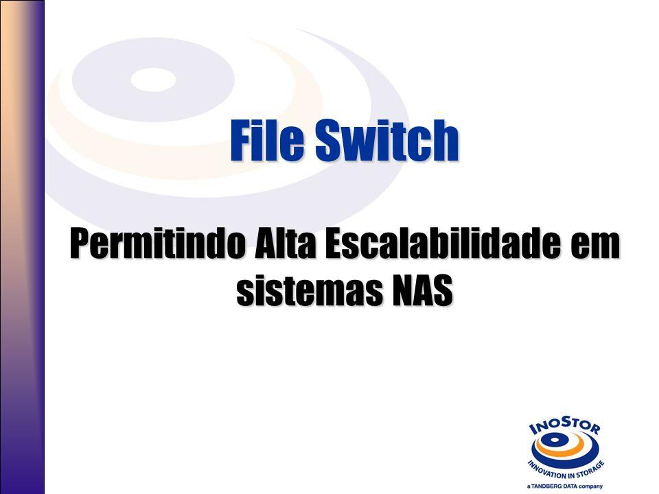 Escalabilidade além de >2.6TB Múltiplos Endereços IP –2.6TB via IP SCSI –2.25 via IP SATA File Switch –Um único endereço IP –Acima de 256 unidades NAS