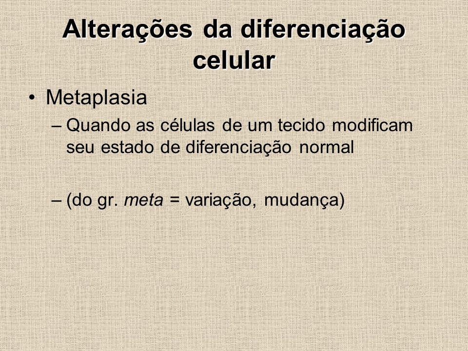 Alterações da diferenciação celular Metaplasia –Quando as células de um tecido modificam seu estado de diferenciação normal –(do gr. meta = variação,