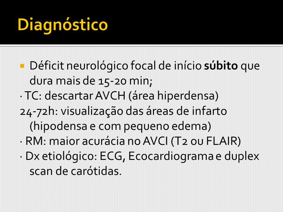 Déficit neurológico focal de início súbito que dura mais de 15-20 min; · TC: descartar AVCH (área hiperdensa) 24-72h: visualização das áreas de infart