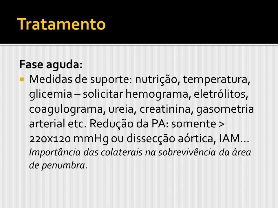 Fase aguda: Medidas de suporte: nutrição, temperatura, glicemia – solicitar hemograma, eletrólitos, coagulograma, ureia, creatinina, gasometria arteri