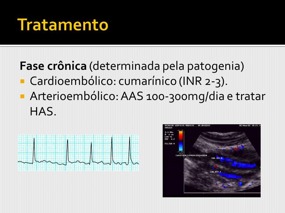 Fase crônica (determinada pela patogenia) Cardioembólico: cumarínico (INR 2-3). Arterioembólico: AAS 100-300mg/dia e tratar HAS.