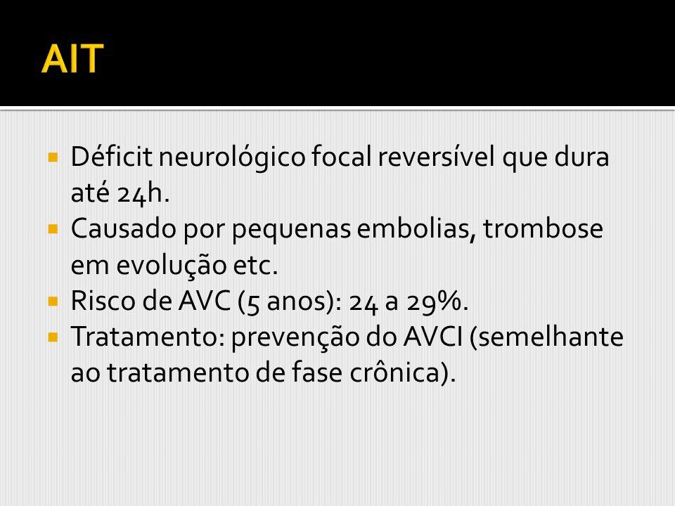 Déficit neurológico focal reversível que dura até 24h. Causado por pequenas embolias, trombose em evolução etc. Risco de AVC (5 anos): 24 a 29%. Trata