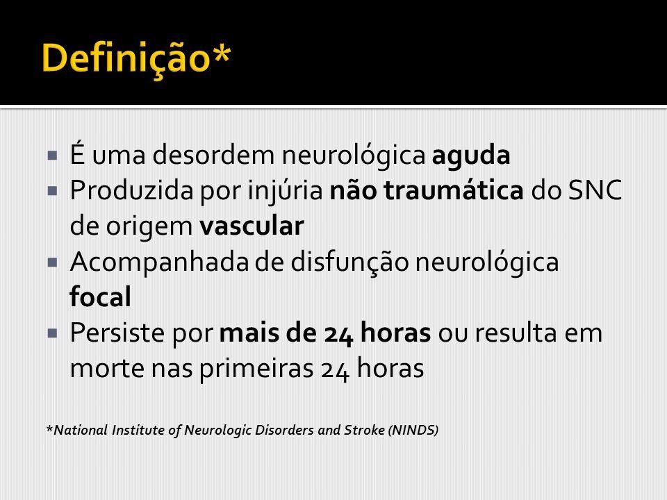 É uma desordem neurológica aguda Produzida por injúria não traumática do SNC de origem vascular Acompanhada de disfunção neurológica focal Persiste po